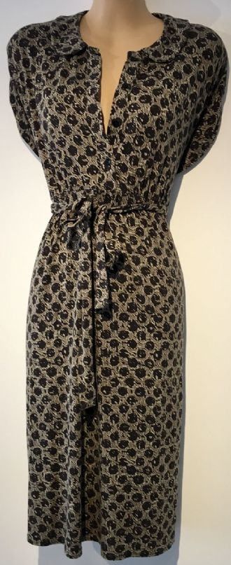 MAMAS & PAPAS TAUPE SPOTTY BUTTON MATERNITY NURSING DRESS SIZE 10